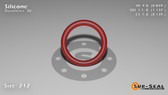O-Ring, Orange Vinyl Methyl Silicone Size: 212, Durometer: 70 Nominal Dimensions: Inner Diameter: 67/78(0.859) Inches (2.18186Cm), Outer Diameter: 1 10/73(1.137) Inches (2.88798Cm), Cross Section: 5/36(0.139) Inches (3.53mm) Part Number: ORSIL212