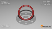 O-Ring, Orange Vinyl Methyl Silicone Size: 214, Durometer: 70 Nominal Dimensions: Inner Diameter: 61/62(0.984) Inches (2.49936Cm), Outer Diameter: 1 11/42(1.262) Inches (3.20548Cm), Cross Section: 5/36(0.139) Inches (3.53mm) Part Number: ORSIL214