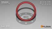 O-Ring, Orange Vinyl Methyl Silicone Size: 219, Durometer: 70 Nominal Dimensions: Inner Diameter: 1 8/27(1.296) Inches (3.29184Cm), Outer Diameter: 1 31/54(1.574) Inches (3.99796Cm), Cross Section: 5/36(0.139) Inches (3.53mm) Part Number: ORSIL219
