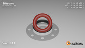 O-Ring, Orange Vinyl Methyl Silicone Size: 311, Durometer: 70 Nominal Dimensions: Inner Diameter: 29/54(0.537) Inches (1.36398Cm), Outer Diameter: 89/93(0.957) Inches (2.43078Cm), Cross Section: 17/81(0.21) Inches (5.33mm) Part Number: ORSIL311