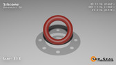 O-Ring, Orange Vinyl Methyl Silicone Size: 313, Durometer: 70 Nominal Dimensions: Inner Diameter: 47/71(0.662) Inches (1.68148Cm), Outer Diameter: 1 5/61(1.082) Inches (2.74828Cm), Cross Section: 17/81(0.21) Inches (5.33mm) Part Number: ORSIL313