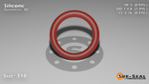 O-Ring, Orange Vinyl Methyl Silicone Size: 318, Durometer: 70 Nominal Dimensions: Inner Diameter: 39/40(0.975) Inches (2.4765Cm), Outer Diameter: 1 32/81(1.395) Inches (3.5433Cm), Cross Section: 17/81(0.21) Inches (5.33mm) Part Number: ORSIL318