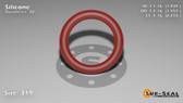 O-Ring, Orange Vinyl Methyl Silicone Size: 319, Durometer: 70 Nominal Dimensions: Inner Diameter: 1 1/27(1.037) Inches (2.63398Cm), Outer Diameter: 1 16/35(1.457) Inches (3.70078Cm), Cross Section: 17/81(0.21) Inches (5.33mm) Part Number: ORSIL319