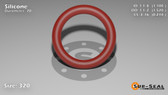 O-Ring, Orange Vinyl Methyl Silicone Size: 320, Durometer: 70 Nominal Dimensions: Inner Diameter: 1 1/10(1.1) Inches (2.794Cm), Outer Diameter: 1 13/25(1.52) Inches (3.8608Cm), Cross Section: 17/81(0.21) Inches (5.33mm) Part Number: ORSIL320