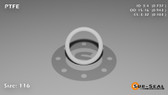 O-Ring, White PTFE/PTFE/TFE Size: 116, Durometer: 75 Nominal Dimensions: Inner Diameter: 14/19(0.737) Inches (1.87198Cm), Outer Diameter: 33/35(0.943) Inches (2.39522Cm), Cross Section: 7/68(0.103) Inches (2.62mm) Part Number: ORTFE116