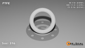 O-Ring, White PTFE/PTFE/TFE Size: 316, Durometer: 75 Nominal Dimensions: Inner Diameter: 17/20(0.85) Inches (2.159Cm), Outer Diameter: 1 10/37(1.27) Inches (3.2258Cm), Cross Section: 17/81(0.21) Inches (5.33mm) Part Number: ORTFE316