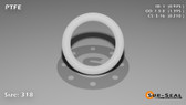 O-Ring, White PTFE/PTFE/TFE Size: 318, Durometer: 75 Nominal Dimensions: Inner Diameter: 39/40(0.975) Inches (2.4765Cm), Outer Diameter: 1 32/81(1.395) Inches (3.5433Cm), Cross Section: 17/81(0.21) Inches (5.33mm) Part Number: ORTFE318