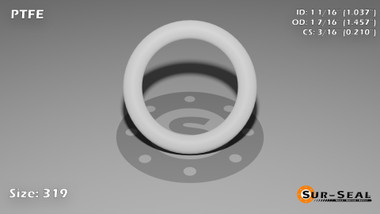 O-Ring, White PTFE/PTFE/TFE Size: 319, Durometer: 75 Nominal Dimensions: Inner Diameter: 1 1/27(1.037) Inches (2.63398Cm), Outer Diameter: 1 16/35(1.457) Inches (3.70078Cm), Cross Section: 17/81(0.21) Inches (5.33mm) Part Number: ORTFE319