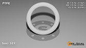 O-Ring, White PTFE/PTFE/TFE Size: 321, Durometer: 75 Nominal Dimensions: Inner Diameter: 1 6/37(1.162) Inches (2.95148Cm), Outer Diameter: 1 39/67(1.582) Inches (4.01828Cm), Cross Section: 17/81(0.21) Inches (5.33mm) Part Number: ORTFE321