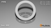 O-Ring, White PTFE/PTFE/TFE Size: 322, Durometer: 75 Nominal Dimensions: Inner Diameter: 1 9/40(1.225) Inches (3.1115Cm), Outer Diameter: 1 20/31(1.645) Inches (4.1783Cm), Cross Section: 17/81(0.21) Inches (5.33mm) Part Number: ORTFE322