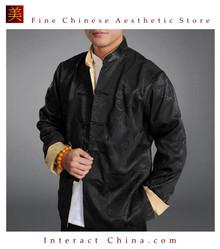 Chinese Tai Chi Kungfu Reversible Black / Gold Jacket Blazer 100% Silk Brocade #108