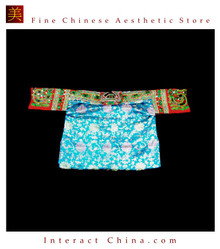 Tribal Vintage Clothing Costume Dress - Hmong Miao Embroidered Silk Brocade Jacket #102