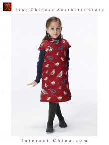 Handmade Girls Cotton Dress Overcoat Chinese Cheongsam Qipao Kids Clothing #201