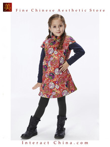 Handmade Girls Cotton Dress Overcoat Chinese Cheongsam Qipao Kids Clothing #203