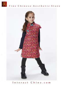 Handmade Girls Cotton Dress Overcoat Chinese Cheongsam Qipao Kids Clothing #205