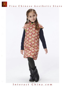 Handmade Girls Cotton Dress Overcoat Chinese Cheongsam Qipao Kids Clothing #207