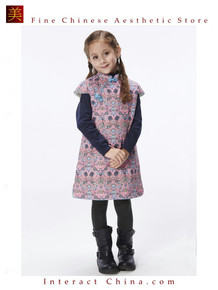 Handmade Girls Cotton Dress Overcoat Chinese Cheongsam Qipao Kids Clothing #211