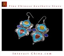 Fine Tibetan Turquoise Jewelry 925 Silver Drop Dangle Earrings 100% Handcraft #107