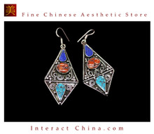 Fine Tibetan Turquoise Jewelry 925 Silver Drop Dangle Earrings 100% Handcraft #109