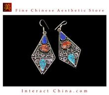 Fine Tibetan Turquoise Jewelry 925 Silver Drop Dangle Earrings 100% Handcraft #109