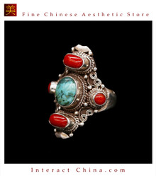 Fine Tibetan Turquoise Coral Gemstone Jewelry 925 Silver Ring 100% Handcraft #105