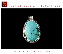 Fine Tibetan Turquoise Coral Gemstone Jewelry 925 Silver Pendant 100% Handcraft #107