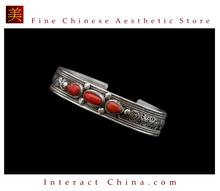 Fine Tibetan Turquoise Coral Jewelry 925 Silver Charm Bracelet 100% Handcraft #110