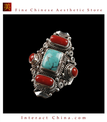 Fine Tibetan Turquoise Coral Gemstone Jewelry 925 Silver Ring 100% Handcraft #111