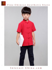 100% Handmade Boys Kung Fu Tai Chi Shirt Martial Arts Costume Kids Uniform #102
