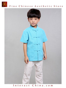 100% Handmade Boys Kung Fu Tai Chi Shirt Martial Arts Costume Kids Uniform #103