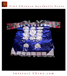Tribal Vintage Clothing Costume Dress - Hmong Miao Silk Brocade Silver Ornament Jacket #101YP