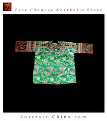 Tribal Vintage Clothing Costume Dress - Hmong Miao Embroidered Silk Brocade Jacket #103
