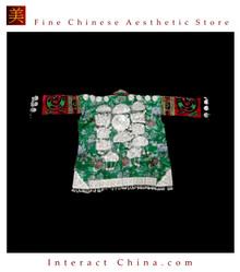 Tribal Vintage Clothing Costume Dress - Hmong Miao Silk Brocade Silver Ornament Jacket #103YP