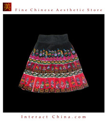 Tribal Vintage Clothing Costume Dress - Hmong Miao Handmade Embroidered Wrap Skirt #106