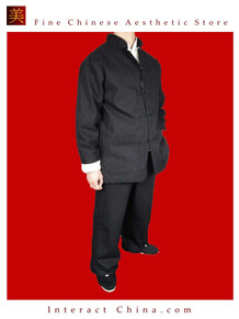 Fine Linen Black Kung Fu Martial Arts Tai Chi Uniform Suit XS-XL or Tailor Custom Made