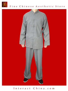 100% Cotton Grey Kung Fu Martial Arts Tai Chi Uniform Suit XS-XL or Tailor Custom Made
