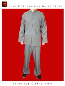 100% Cotton Grey Kung Fu Martial Arts Tai Chi Uniform Suit XS-XL or Tailor Custom Made
