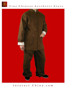 100% Cotton Brown Kung Fu Martial Arts Tai Chi Uniform Suit XS-XL or Tailor Custom Made