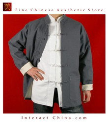 100% Cotton Grey Kung Fu Martial Arts Tai Chi Jacket Coat XS-XL or Tailor Custom Made