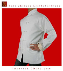 100% Cotton White Kung Fu Martial Arts Tai Chi Jacket Coat XS-XL or Tailor Custom Made