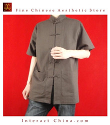 100% Cotton Brown Kung Fu Martial Arts Tai Chi Shirt Clothing XS-XL or Tailor Custom Made
