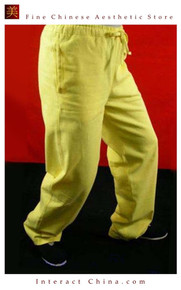 Premium Linen Golden Kung Fu Martial Art Taichi Pant Trousers XS-XL or Tailor Custom Made