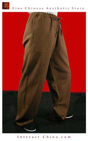100% Cotton Brown Kung Fu Martial Arts Tai Chi Pant Trousers XS-XL or Tailor Custom Mad