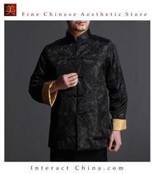 Chinese Tai Chi Kungfu Reversible Black / Gold Jacket Blazer 100% Silk Brocade #104