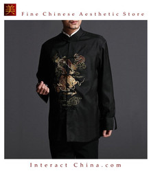 Stylish Black Kung Fu Men's Blazer Padded Jacket Dragon Shirt - 100% Silk #104