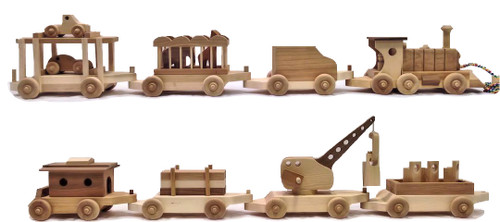 My signature interactive eight car wooden train includes a real working crane, cargo, blocks, cars, animals, and people. Each car is designed to maximize a child's interactive and imaginative play skills. The cars are hand crafted from maple, cherry, walnut, oak, and birch. They have a natural sanded wood finish, without paint or stain. Each car listed below can be purchased separately. The complete train is over seven feet long.