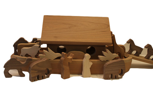 "Noah's Ark is crafted of solid cherry and includes Noah and his wife, nine pairs of wooden animals (doves, elephants, giraffes, camels, bears, cows, lions, pigs, and horses) for a total of eighteen animals, and a ramp to help them climb aboard. The animals are in cherry, birch,walnut and oak. The ark is a unique keepsake gift for a new baby, or toddler's birthday. The ark is 19"" long x 9"" high x 8"" wide."