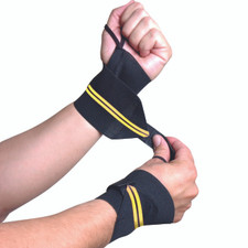Model wearing CAP Barbell Wrist Wrap with Thumb Loop, Pair