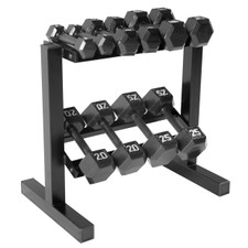 CAP Black Cast Iron Hex Dumbbell Set with Rack, 150 lb