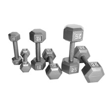 Gray Solid Hex Dumbbell Set